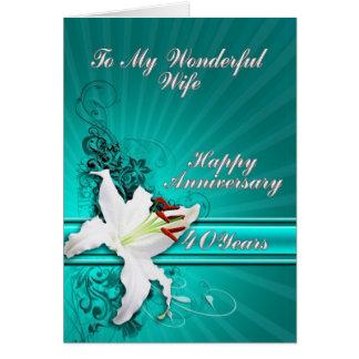 40 anos de cartão do aniversário para uma esposa