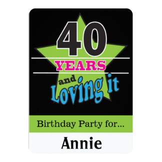 40 anos e amor dele! aniversário de 40 anos de | convite 12.7 x 17.78cm