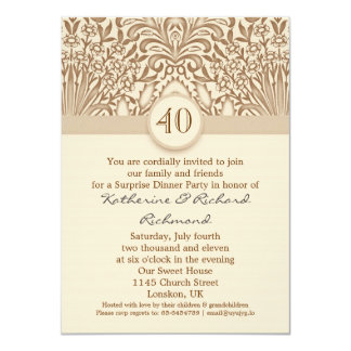 40 de casamento do aniversário anos de marrom do convite 11.30 x 15.87cm