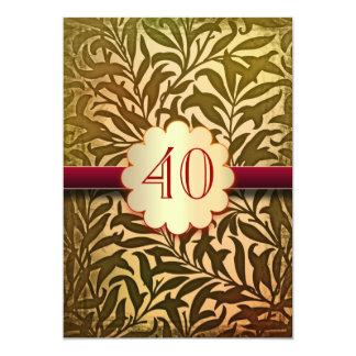 40 do aniversário anos de convites do vintage