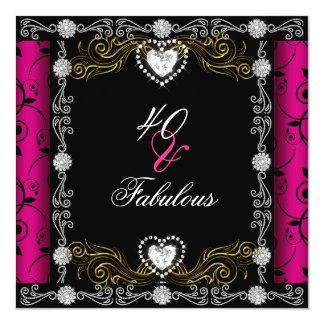 40 fabulosos aniversário de 40 anos cor-de-rosa da convite quadrado 13.35 x 13.35cm