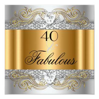 40 fabulosos festa de aniversário de prata da convite quadrado 13.35 x 13.35cm