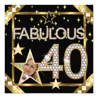 40 fabulosos foto retro do ouro de Hollywood do Convite Quadrado 13.35 X 13.35cm