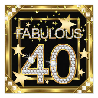 40 fabulosos quadro retro 2 do ouro de Hollywood Convite Quadrado 13.35 X 13.35cm