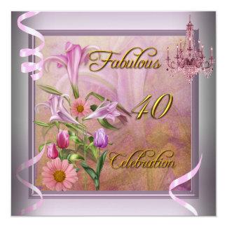 40 flores cor-de-rosa fabulosas do Lilac da Convite Quadrado 13.35 X 13.35cm