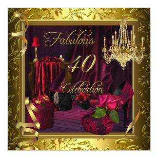 40 rosas cor-de-rosa vermelhos fabulosos do ouro convite quadrado 13.35 x 13.35cm