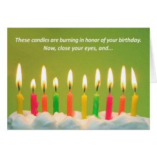 40 velas de cartão de aniversário de 40 anos