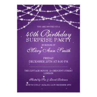 40th A corda da festa de aniversário da surpresa Convites Personalizados