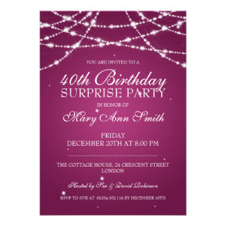 40th A corda da festa de aniversário da surpresa Convite Personalizado