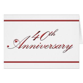 40th Aniversário (aniversário de casamento) Cartão Comemorativo