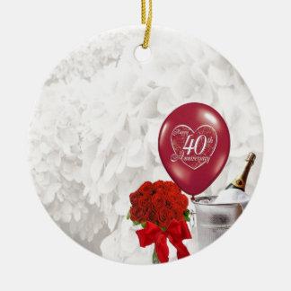 40th Aniversário de casamento Ornamento De Cerâmica Redondo