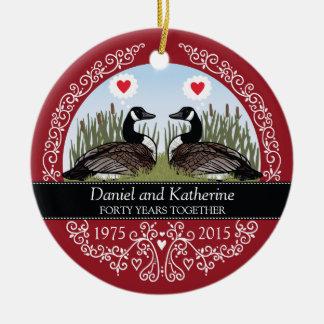 40th aniversário de casamento personalizado, ornamento de cerâmica redondo