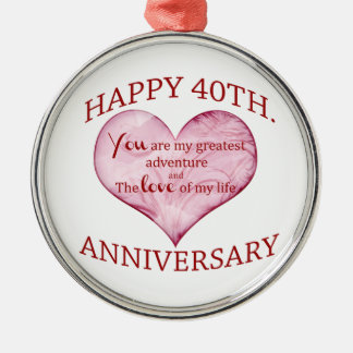 40th. Aniversário Ornamento Redondo Cor Prata