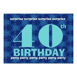 40th Azul da festa de aniversário da SURPRESA e Aq Convite Personalizado