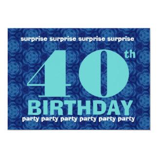 40th Azul da festa de aniversário da SURPRESA e Convite 12.7 X 17.78cm