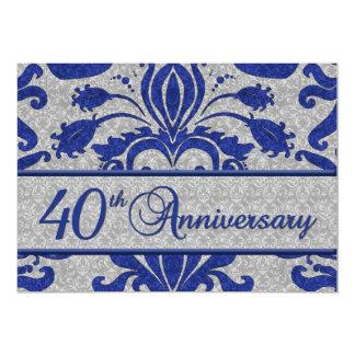 40th Azul do anúncio do negócio do aniversário Convite 12.7 X 17.78cm