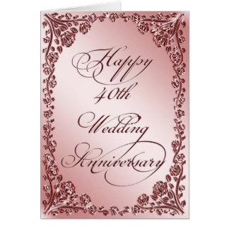 40th Cartão do aniversário de casamento