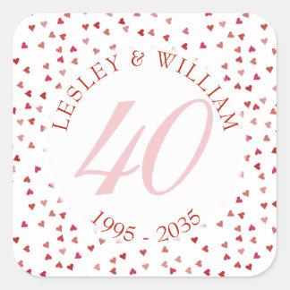 40th Confetes dos corações do rubi do aniversário Adesivo Quadrado