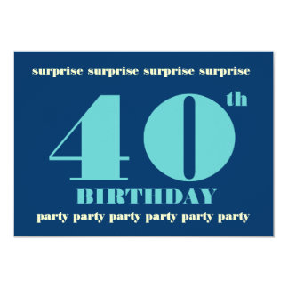 40th Convite de aniversário da SURPRESA - azul Convite 12.7 X 17.78cm