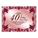 40th Convite do aniversário de casamento