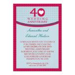 40th Convite do aniversário de casamento do Convite 12.7 X 17.78cm