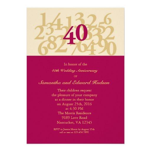 40th Convite do aniversário de casamento do rubi