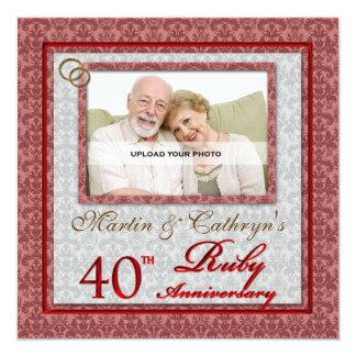 40th Convite feito sob encomenda da foto do