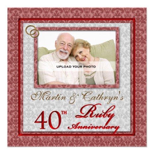 40th Convite feito sob encomenda da foto do aniver