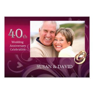 40th Convites da festa de aniversário do casamento
