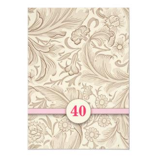 40th convites do rosa do vintage do aniversário