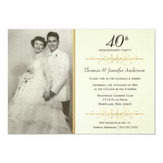 40th convites elegantes da festa de aniversário do convite 12.7 x 17.78cm