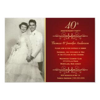 40th convites elegantes do aniversário de convite 12.7 x 17.78cm