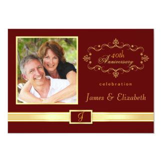 40th convites personalizados da festa de convite 12.7 x 17.78cm