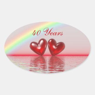 40th Corações do rubi do aniversário Adesivo Oval