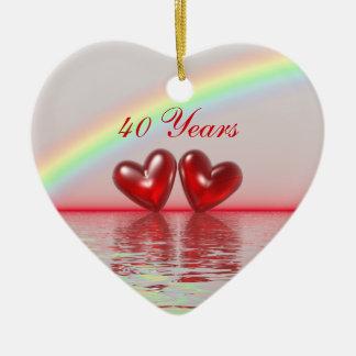 40th Corações do rubi do aniversário Ornamento De Cerâmica Coração