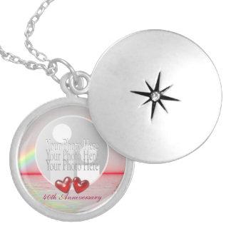 40th Corações do rubi do aniversário (quadro da Colar Banhado A Prata