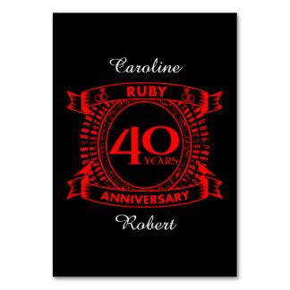 40th crista do rubi do aniversário de casamento cartão
