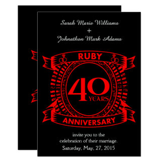 40th crista do rubi do aniversário de casamento convite 12.7 x 17.78cm