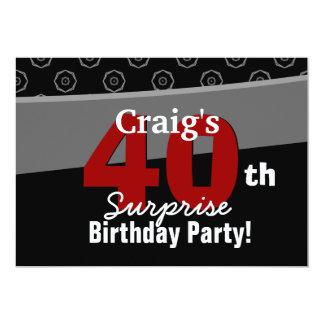 40th Do preto moderno do aniversário da surpresa Convite 12.7 X 17.78cm
