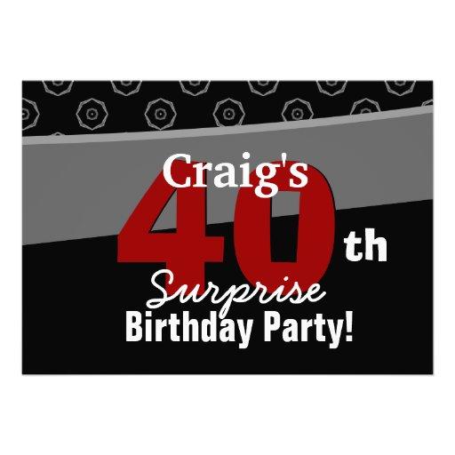 40th Do preto moderno do aniversário da surpresa v Convites Personalizado