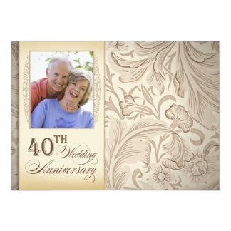 40th foto do aniversário de casamento convite 12.7 x 17.78cm