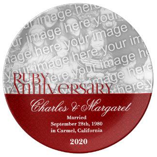 40th Foto do aniversário de casamento do rubi Prato De Porcelana