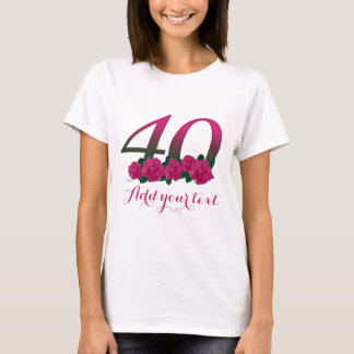 40th modelo 40 customizável personalizado camiseta