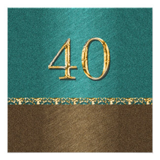 40th partido elegante do marrom azul convite personalizado