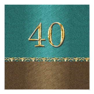 40th partido elegante do marrom azul convite quadrado 13.35 x 13.35cm