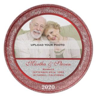 40th Placa da foto do aniversário de casamento Prato De Festa