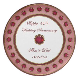 40th Placa do aniversário de casamento Pratos