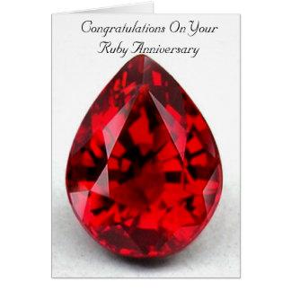 40th rubi feliz do cartão do aniversário de
