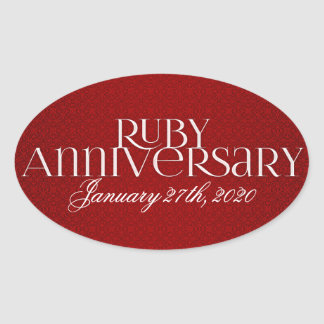 40th Rubi que Wedding etiquetas de Annivsersary Adesivo Oval