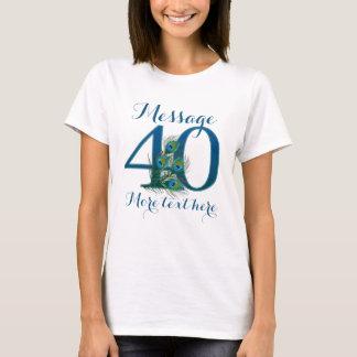 40th t-shirt personalizado do texto do aniversário camiseta